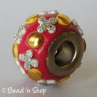 Red Euro Style Bead with Golden Cabochons & Silver Flowers