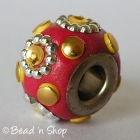 Red Euro Style Bead with Golden Cabochons & Metal Rings