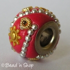 Red Euro Style Bead with Silver Ball Chains & Golden Embellishments