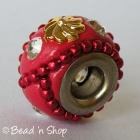 Red Euro Style Bead with Red Ball Chains & Rhinestones