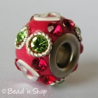 Red Euro Style Bead with Rhinestones and Heart Shaped Accessories