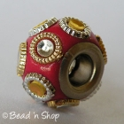 Red Euro Style Bead with Rings & Cabochons