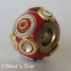 Red Euro Style Bead with Golden & Silver Rings