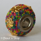Pandora Bead with Colorful Grains & Golden Flower