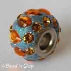 Glittering Euro Style Bead with Orange Rhinestones & Cabochons