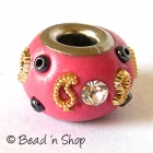 Pink Euro Style Bead Studded with White Rhinestones & Accessories