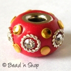Red Euro Style Bead with Rhinestones & Accessories