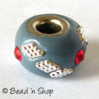 Euro Style Bead Studded with Red Rhinestones & Accessories