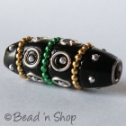 Black Bead Studded with Metal Rings & Metal Chains