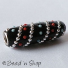 Black Bead Studded with Metal Chains & Color Grains