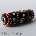 Black Bead Studded with Metal Chains & Seed Beads
