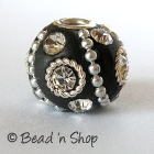 Bead Studded with Metal Chain & White Rhinestones