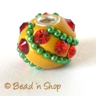Yellow Bead Studded with Red Rhinestone & Accessories