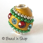 Yellow Bead Studded with Metal Chains & Rhinestones