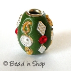 Green Bead Rimmed with Rhinestone & Accessories