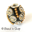 Black Bead Studded with Metal Rings & Rhinestones