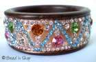 Bangle Studded with Colorful Rhinestones
