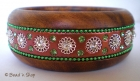 Bangle Studded with Metal Accessories & Green Rhinestones