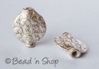 Silver Plated Copper Bead in Round Flattened Shape