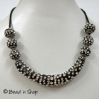 Black Maruti Necklace with Rhinestones and Seed Beads