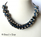 Black Maruti Necklace with Rhinestones and Metal Rings