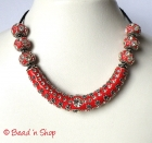 Red Maruti Necklace with Rhinestones & Silver Plated Flower