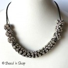 Black Maruti Necklace with White Rhinestones and Metal Rings