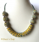 Yellow Maruti Necklace with Rhinestones and Metal Accessories