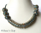Blue Maruti Necklace with Rhinestones and Metal Chains