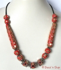 Red Maruti Necklace with Rhinestones & Mirror Chips