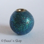 50pc Blue Round Glitter Shinning Kashmiri Bead