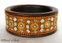 1pc Golden Colored Bangle Studded with Mirrors & Accessories