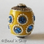 25pc Yellow Beads Studded with Metal Rings & Blue Rhinestones