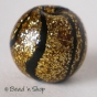 50pc Golden-Black Round Bead