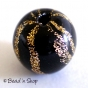 50pc Black Round Bead with Golden Stripes