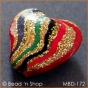 50pc Golden Heart Bead with Multicolor Stripes