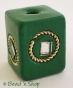 50pc Green Square Bead with Metal Ring & Mirror