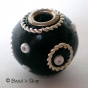 50pc Black Round Bead Studded with Wire-rings & Seed-beads