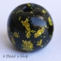 50pc Black Round Bead with Golden Spots