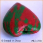 50pc Red+Green Heart Bead