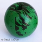 50pc Round Green Bead with Black Spots