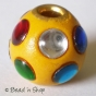 50pc Yellow Round Bead Studded with Colored Cabochons