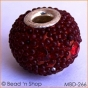 50pc Round Bead with Red Grains & Rhinestones