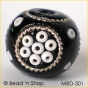 50pc Black Bead Studded with Seed Bead forming Flower Design