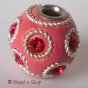 50pc Pink Bead Studded Red Rhinestone