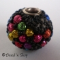 50pc Black Bead Studded with Black & Colorful Grains