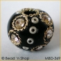 50pc Black Bead Studded with Wire-bordered Rhinestone & Seed Beads