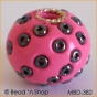50pc Pink Bead Studded with Black Seed Beads