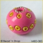 50pc Pink Bead Studded with Yellow Seed Beads