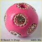 50pc Pink Bead Studded with Wire-bordered Rhinestones